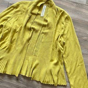 By Anthropologie Mustard Gold Green Crop Cardigan